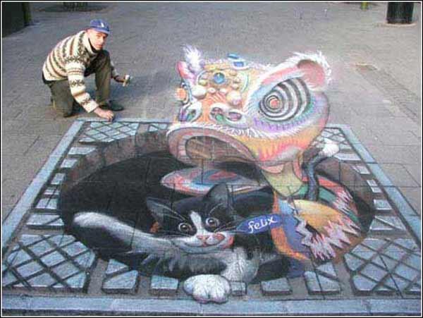 教你街头3d立体画原理和绘制方法